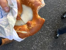 Salami, kase, pretzel sandwich